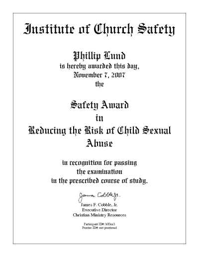 Safety Award in Reducing the Risk of Child Sexual Abuse