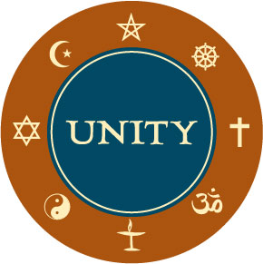 Paganism, Pentagram, Buddhism, Dharma Wheel, Judaism, Star of David, Hinduism, Om, Unitarian Universalism, Flaming Chalice, Taoism, Yin Yang, Christian Cross, Islam, Star and Crescent