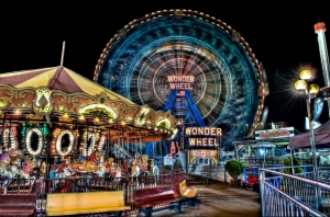 amusement park, coney island, D300, digital image, ferris wheel, HDR, high dynamic range imaging, image of the day, linkedin, new image, night exposure, Nikon, photo, photograph, Photography, wonder wheel