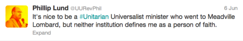Screen shot of a tweet about being a Unitarian Universalist Minister